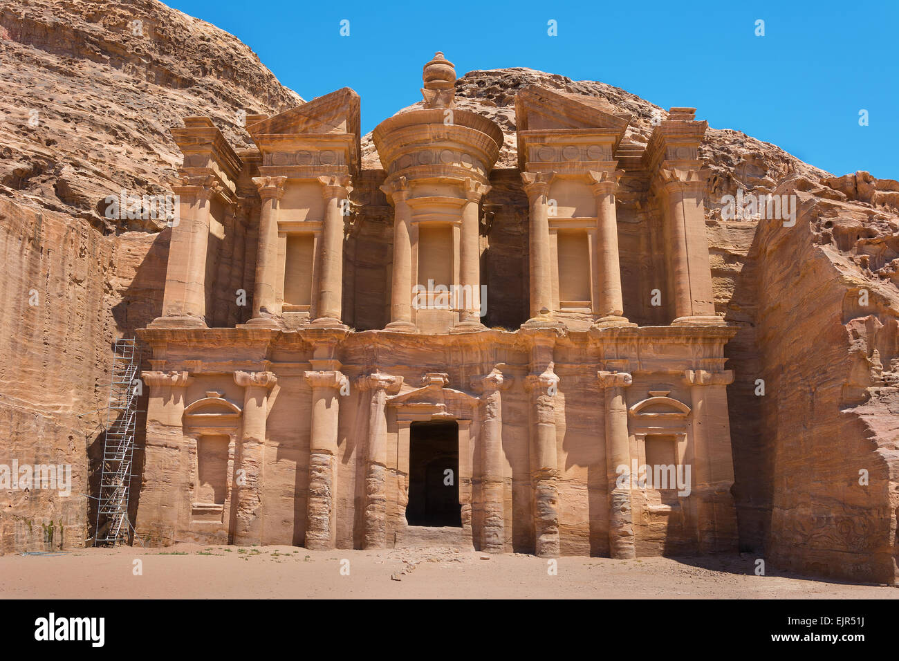 The al-Dayr tomb or monastery part of the Petra complex in Jordan - Stock Image