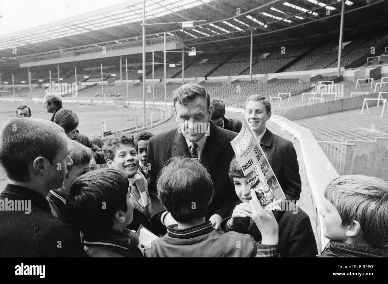 Don Revie Leeds United manager pays a quick visit to Wembley for check on the ground conditions and dressing rooms - Stock Image