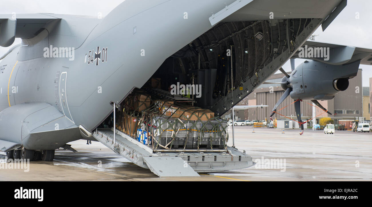 Wunstorf, Germany. 31st Mar, 2015. An A400M transport plane of the German armed forces stands on the perimeter of - Stock Image