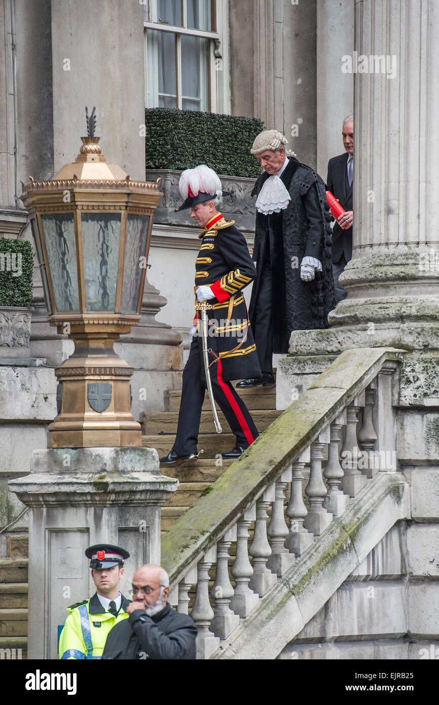 The march to and from the Mansion House. Royal Proclamation: summoning of a new Parliament following the dissolution - Stock Image