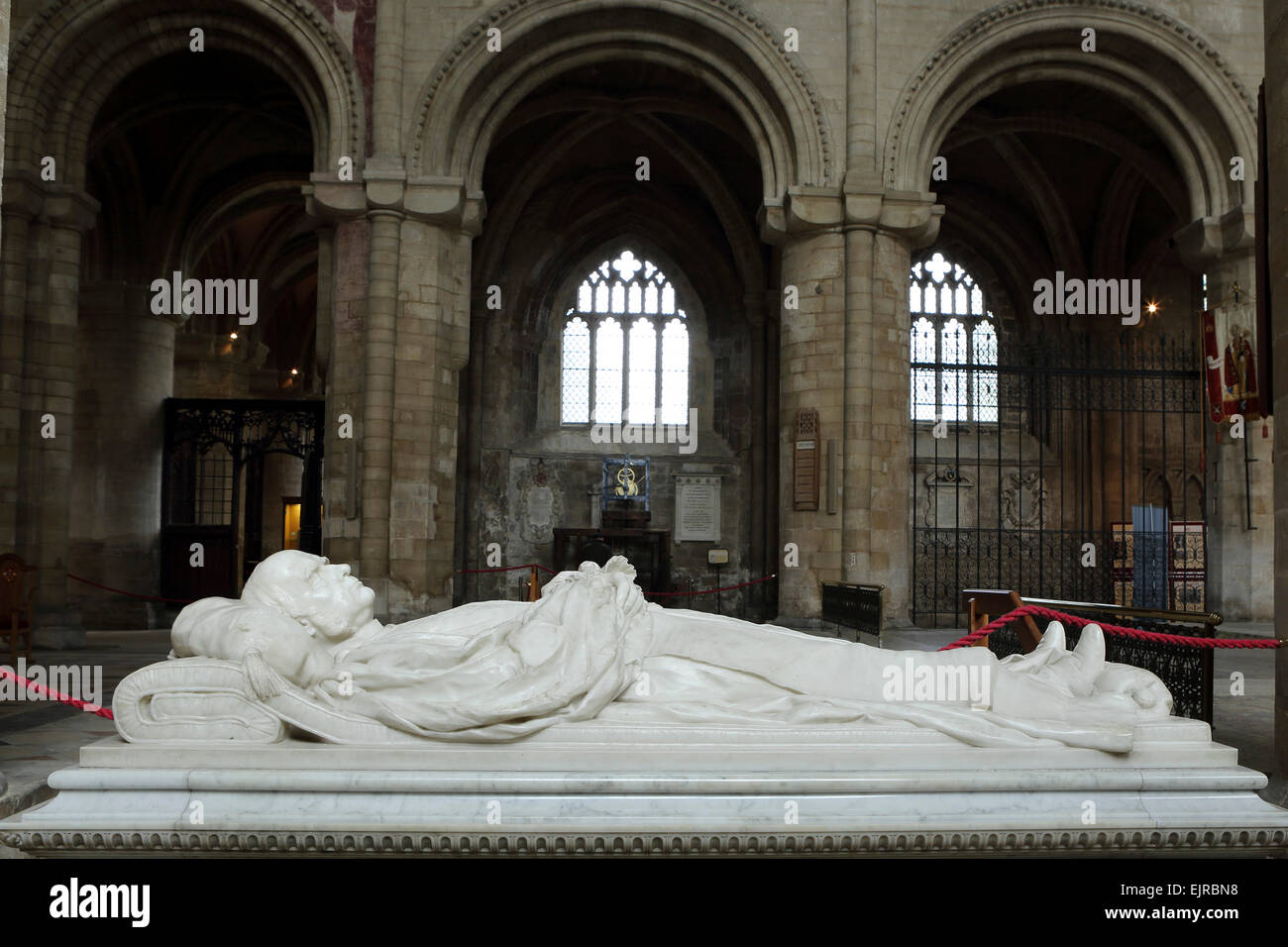 A marble memorial to William Connor Magee (1821 - 1891) at the cathedral in Peterborough, United Kingdom. - Stock Image
