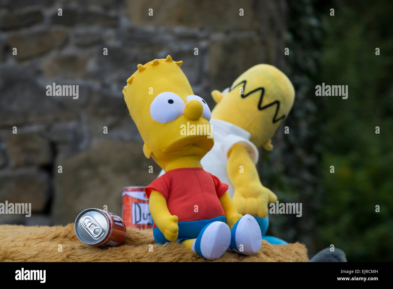 Bart  Simpson toy on float in the  annual Eyam carnival in Derbyshire Peak District England - Stock Image