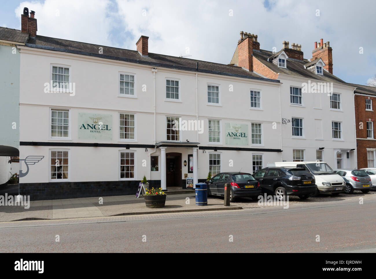The Angel Hotel in the Leicestershire town of Market Harborough - Stock Image