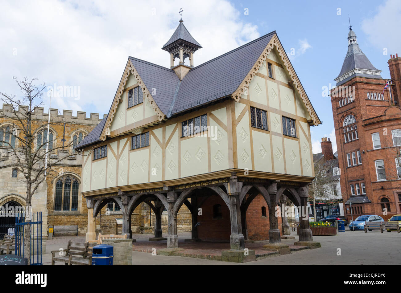 The timber-framed Old Grammar School building in the Leicestershire town of Market Harborough - Stock Image
