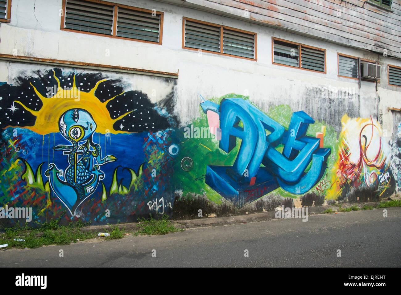 Mural, Paramaribo, Suriname - Stock Image