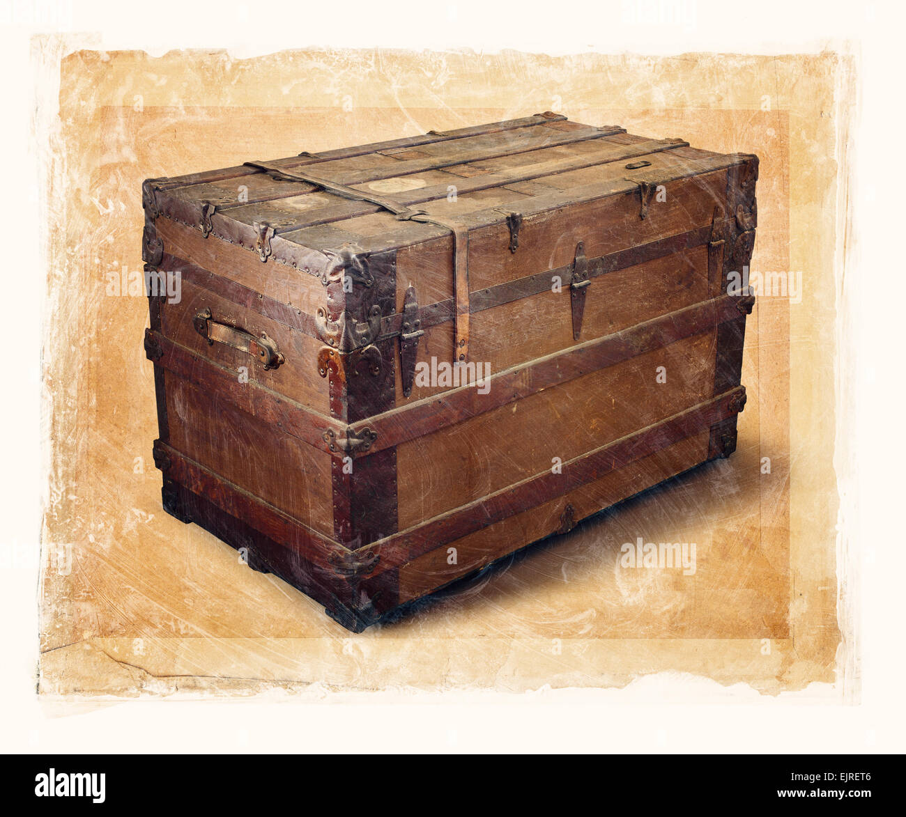 Grainy and gritty image of an old steamer trunk. - Stock Image
