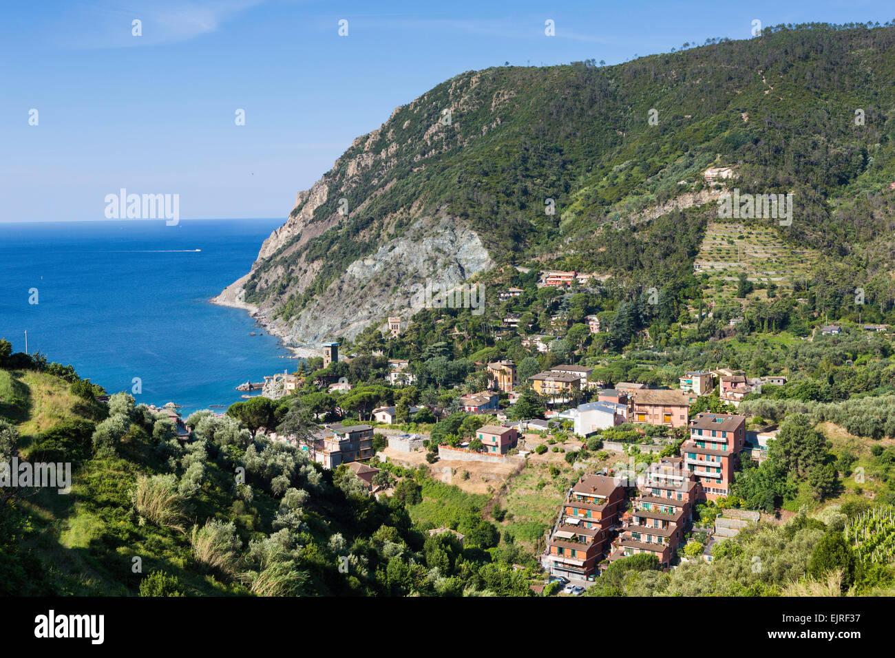 Elevated view over Monterosso al Mare, Cinque Terre, Liguria, Italy Stock Photo
