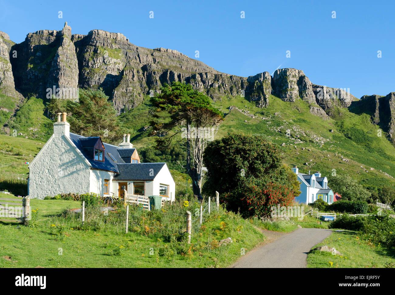 cottage house dwelling eigg geology community - Stock Image