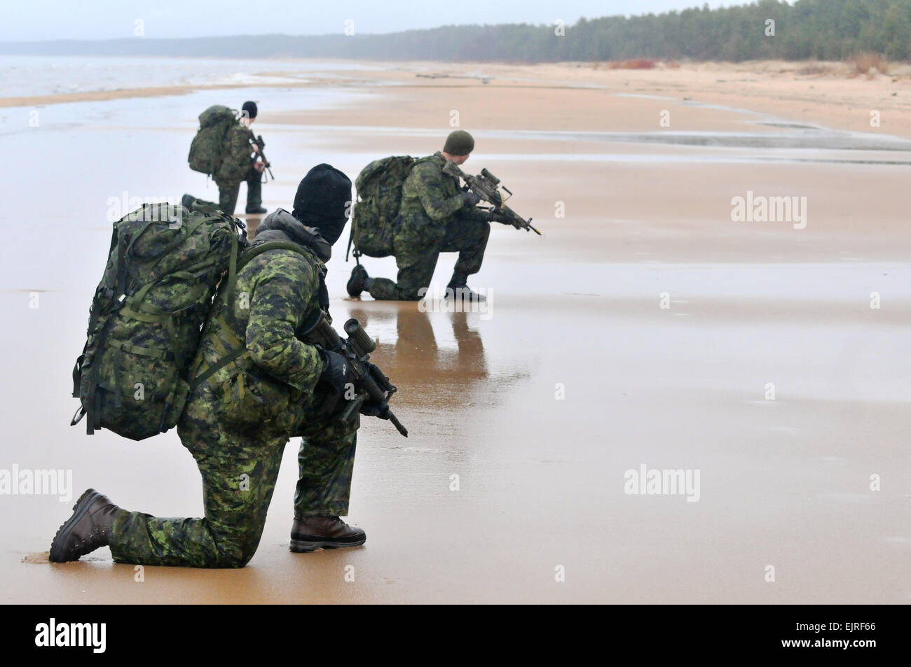 US Army reconnaissance commandos alongside Latvian and Canadian commandos perform a water infiltration during exercise Stock Photo