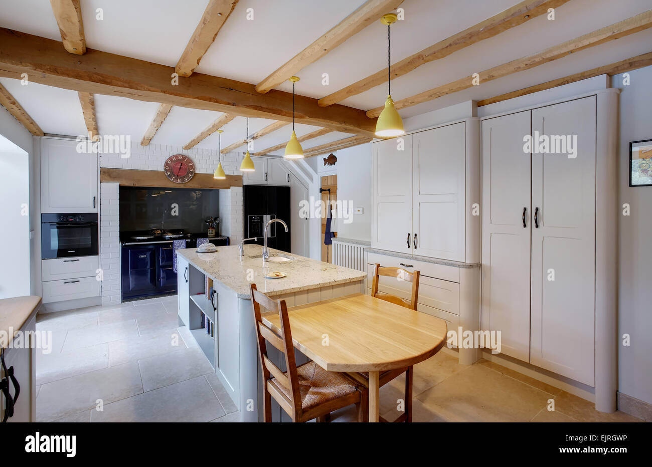 A traditional style kitchen inside a farmhouse in the UK. Stock Photo