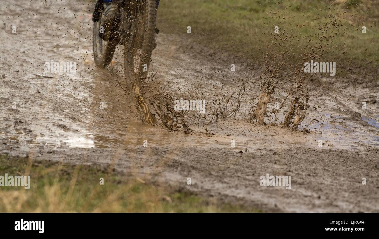 cyclist riding downhill mountain bike splashing through puddle of very muddy water - Scotland, UK - Stock Image