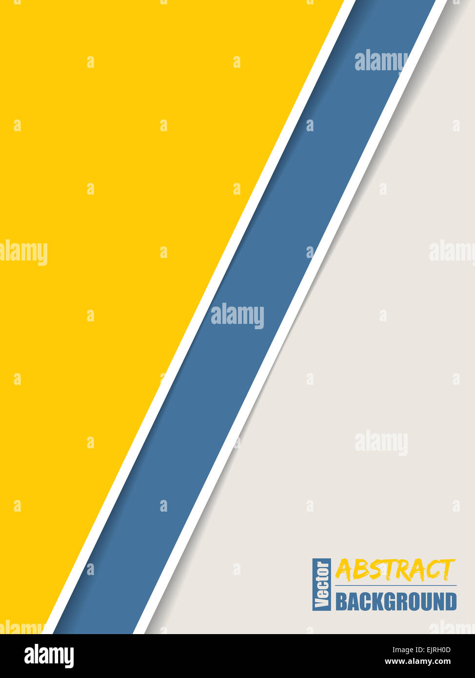 Simple brochure design with yellow blue and white stripes