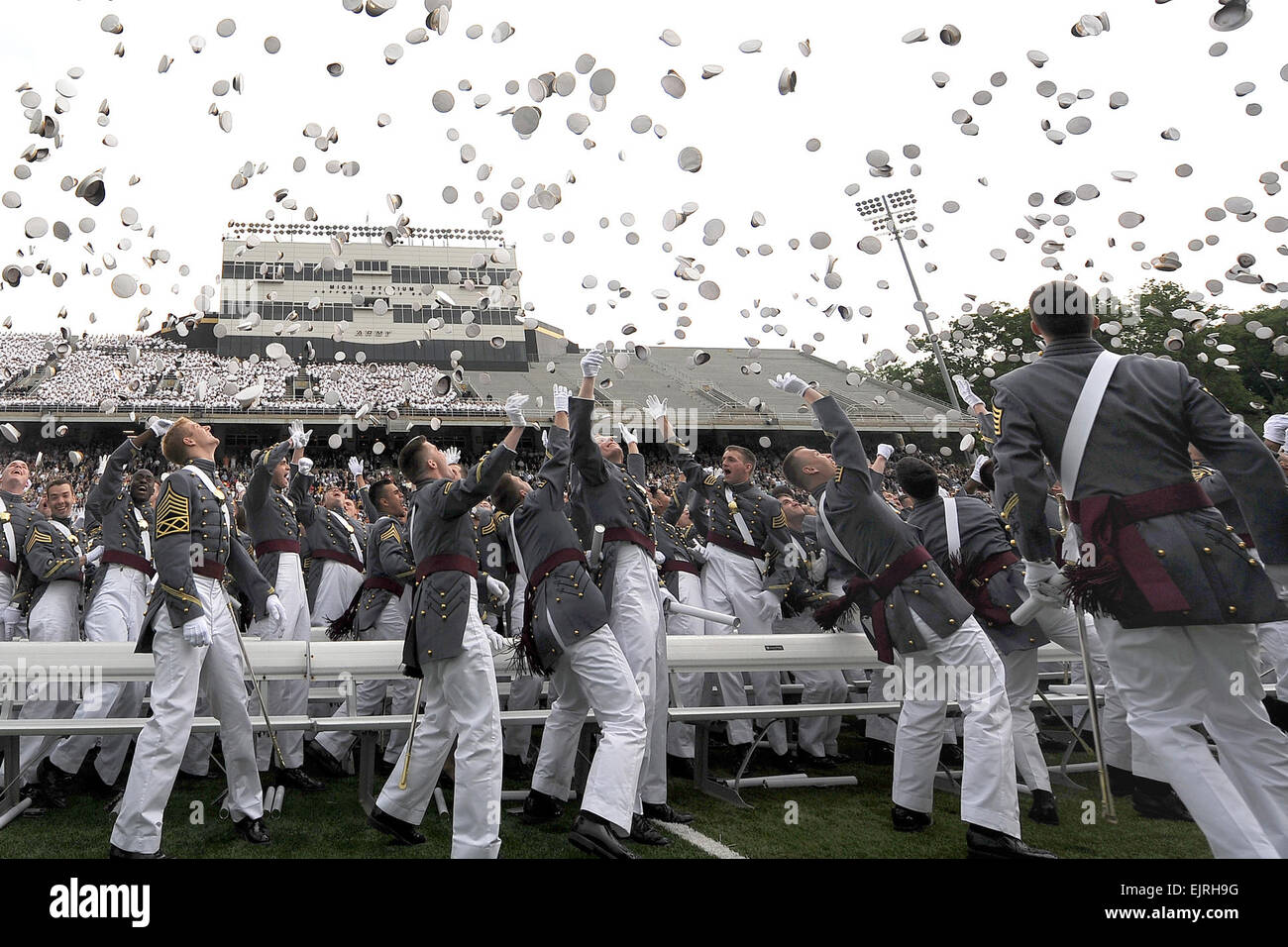 U.S. Military Academy graduates toss their hats during commencement ceremonies at West Point, N.Y., May 23, 2009. Stock Photo