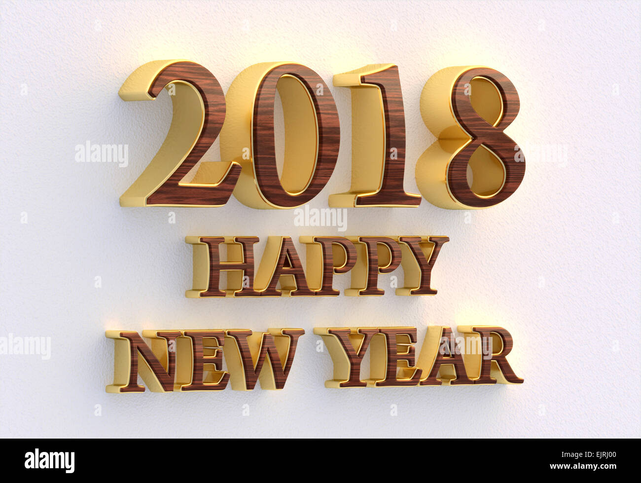 happy new year 2018 gold and wood text 3d design template on white wall