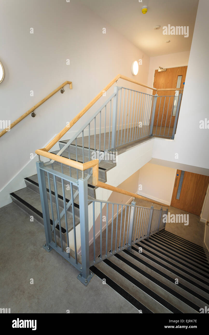 Utility stairway of modern building without people Stock Photo