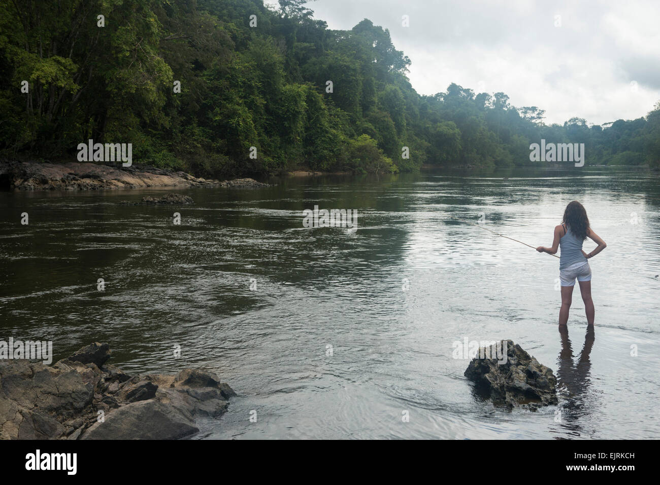 Fishing in the upper Coppename River, Central Suriname ...