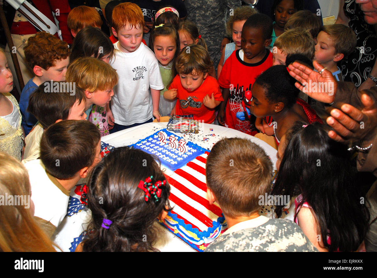 Secretary Begins Army Birthday With Myer Youth  C. Todd Lopez June 09, 2008  Children at the Fort Myer, Va. Child Stock Photo