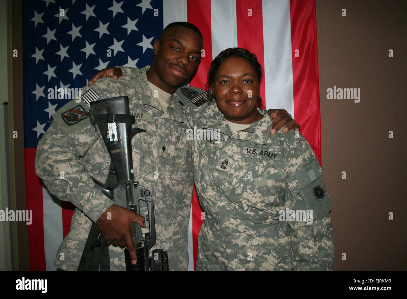 CAMP ARIFJAN, Kuwait – On a surprise trip from Iraq, 19-year-old Spc. Anthony W. Avant, Jr. visited his mother, Stock Photo