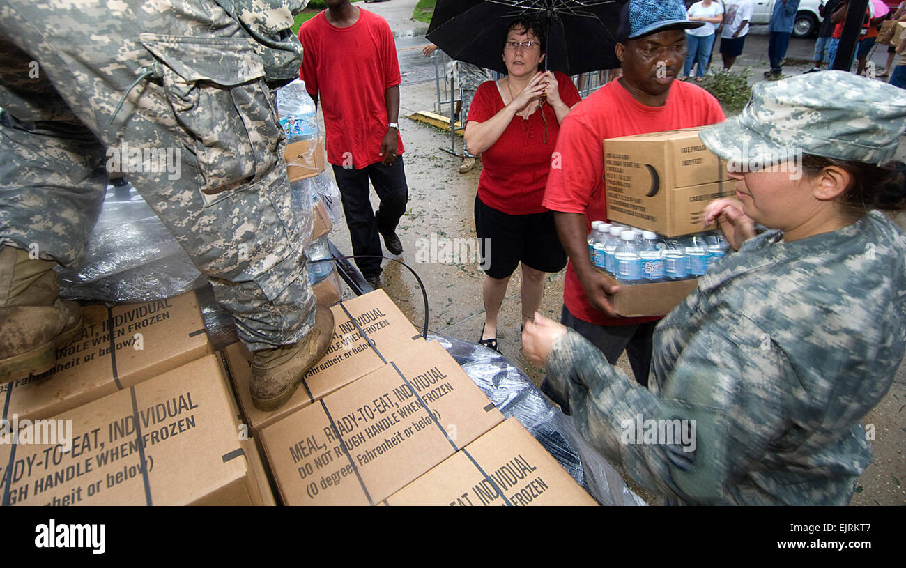 Baton Rouge, La. Sep. 03, 2008- Army National Guard Spc. Jacquelyn Smith of 1084 Trasnportation Divison, Spidell, - Stock Image