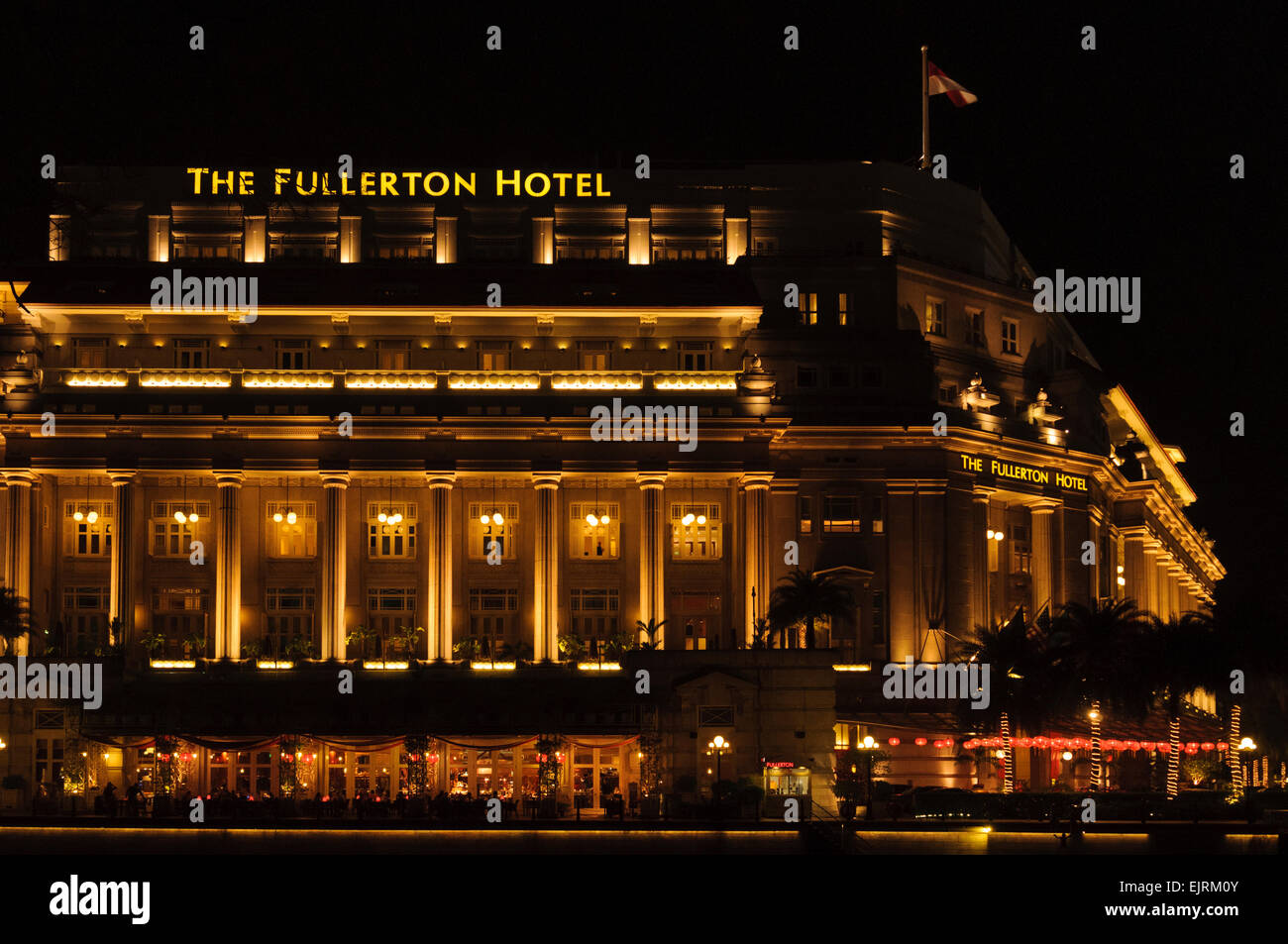 Fullerton hotel, a five-star luxury hotel in Singapore. - Stock Image