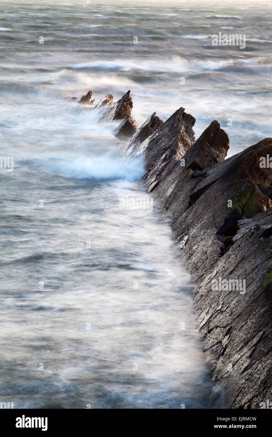 Jagged Rocks in Rough Seas at St Monans East Neuk of Fife Scotland - Stock Image