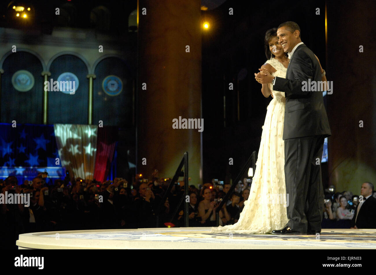 President Barack Obama and first lady Michelle Obama dance during the Commander in Chief's Ball in downtown - Stock Image
