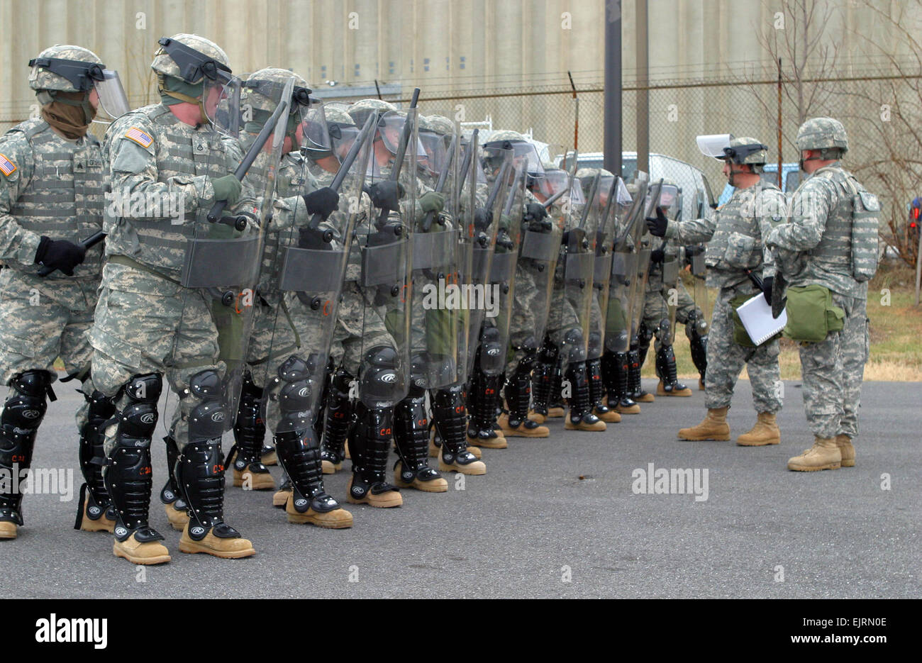 Soldiers in the West Virginia National Guard Quick Reaction Force train in Washington, D.C., prior to the 2009 Presidential Stock Photo