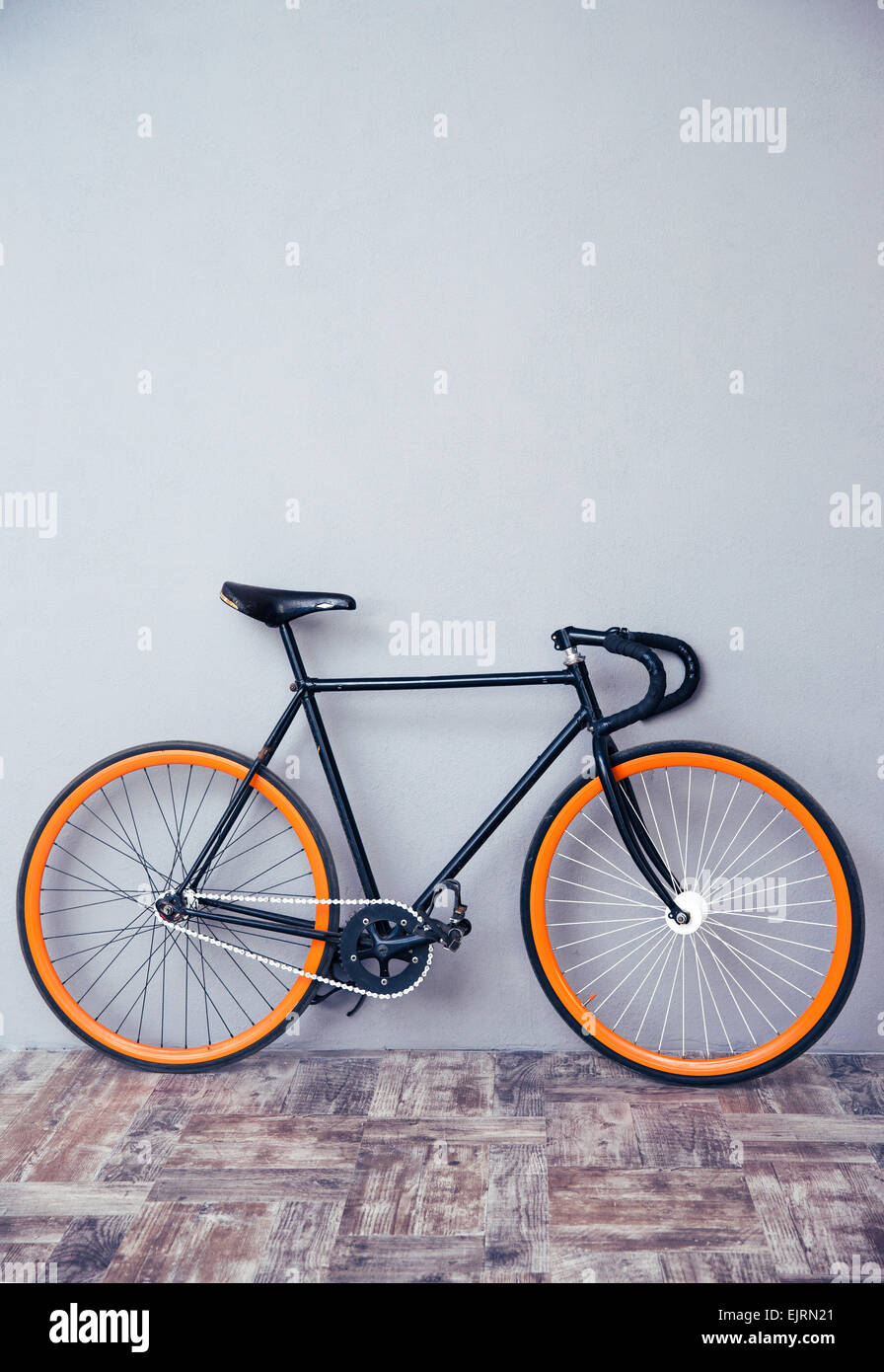 Closeup image of a bicycle at studio - Stock Image