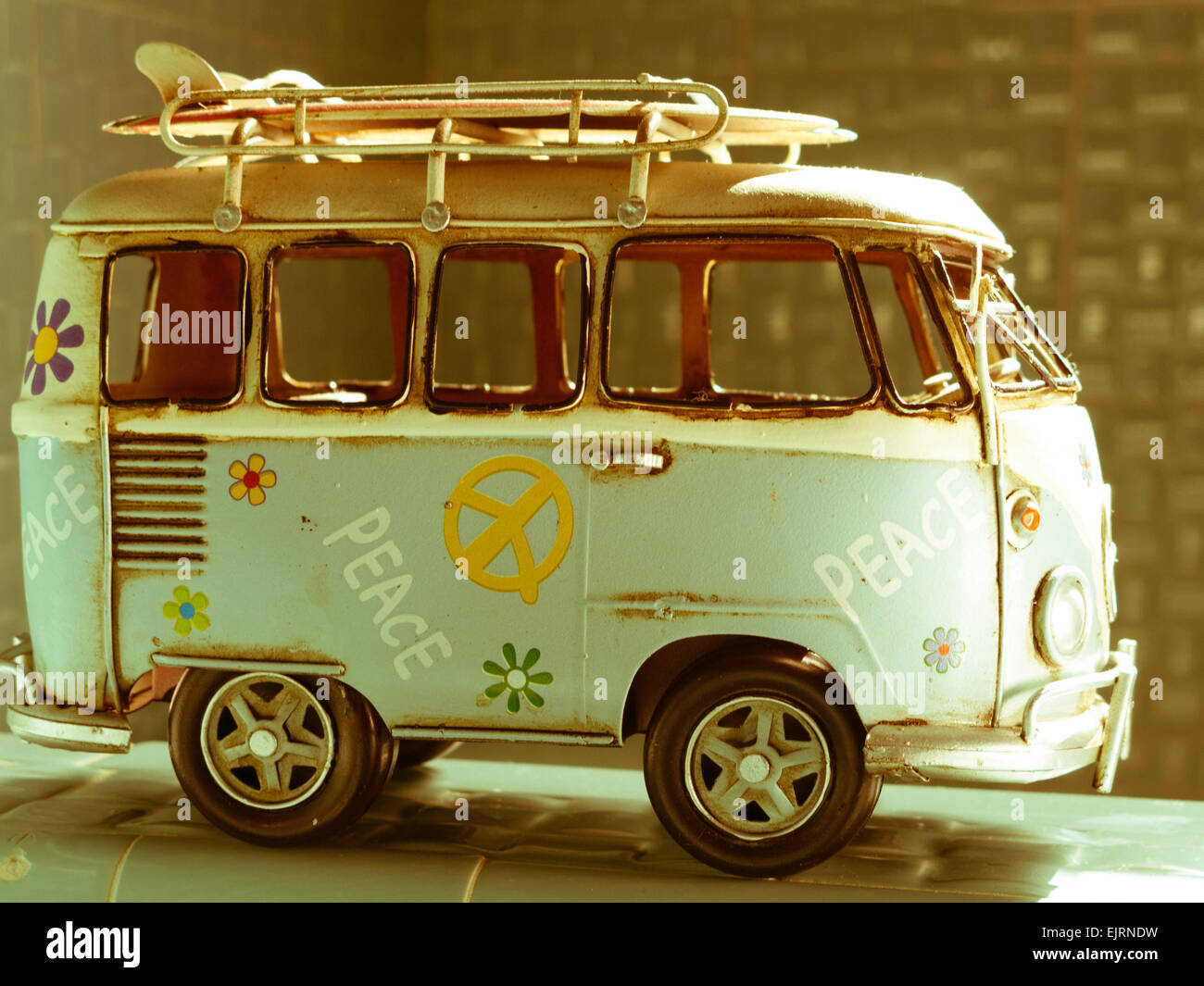 vintage vw hippie bus model stock photo 80427029 alamy. Black Bedroom Furniture Sets. Home Design Ideas