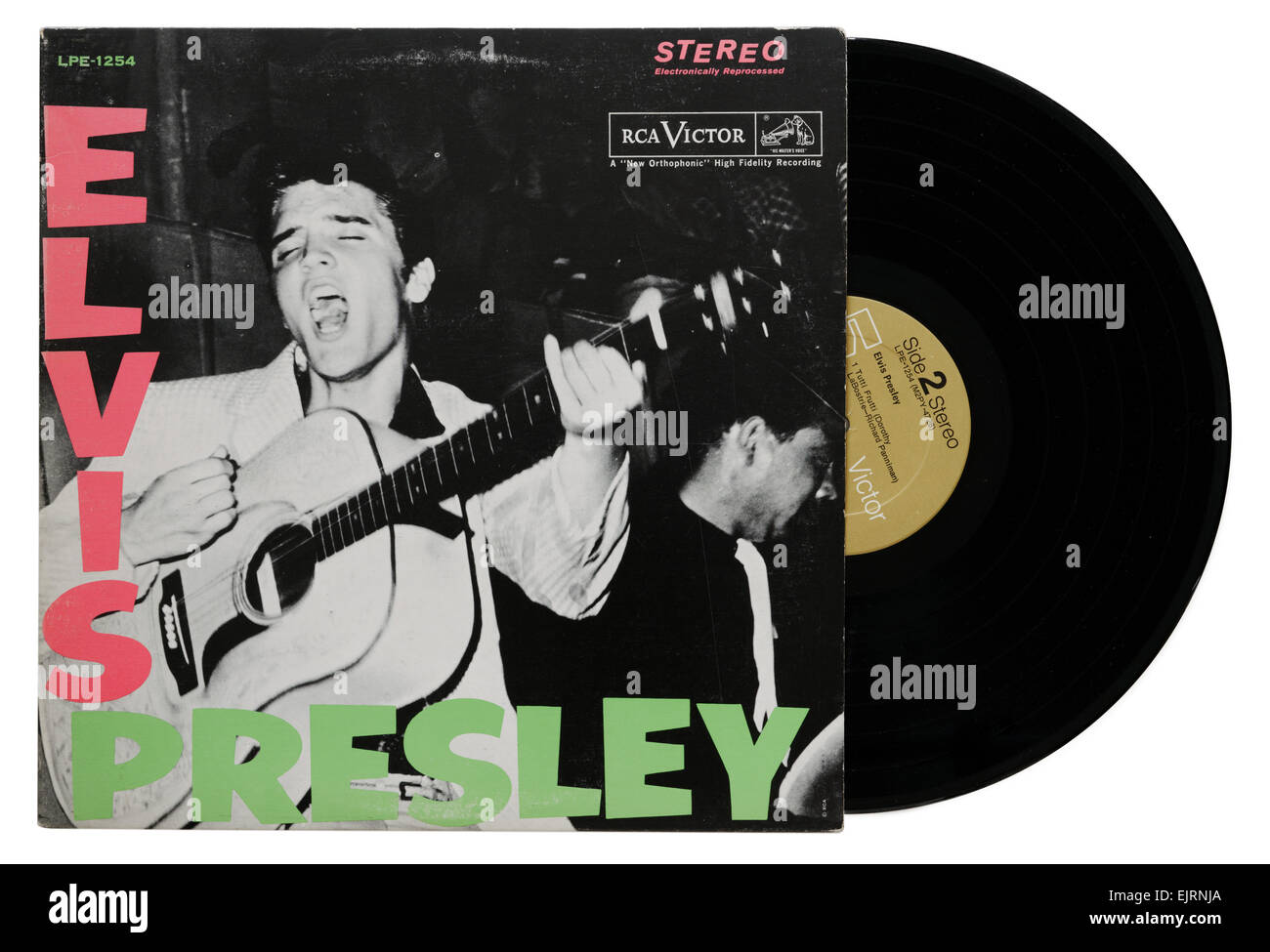 Elvis Presley's first album, with the sleeve design used by The Clash for their iconic London Calling album - Stock Image