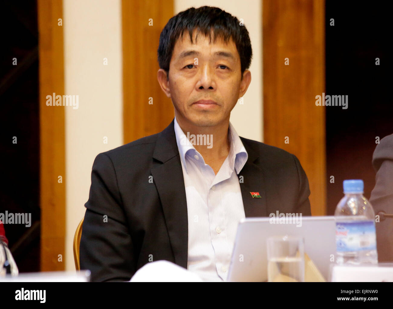(150331) -- YANGON, March 31, 2015 (Xinhua) -- Kachin Independence Army (KIA) Deputy Chief Major-General Guan Maw - Stock Image