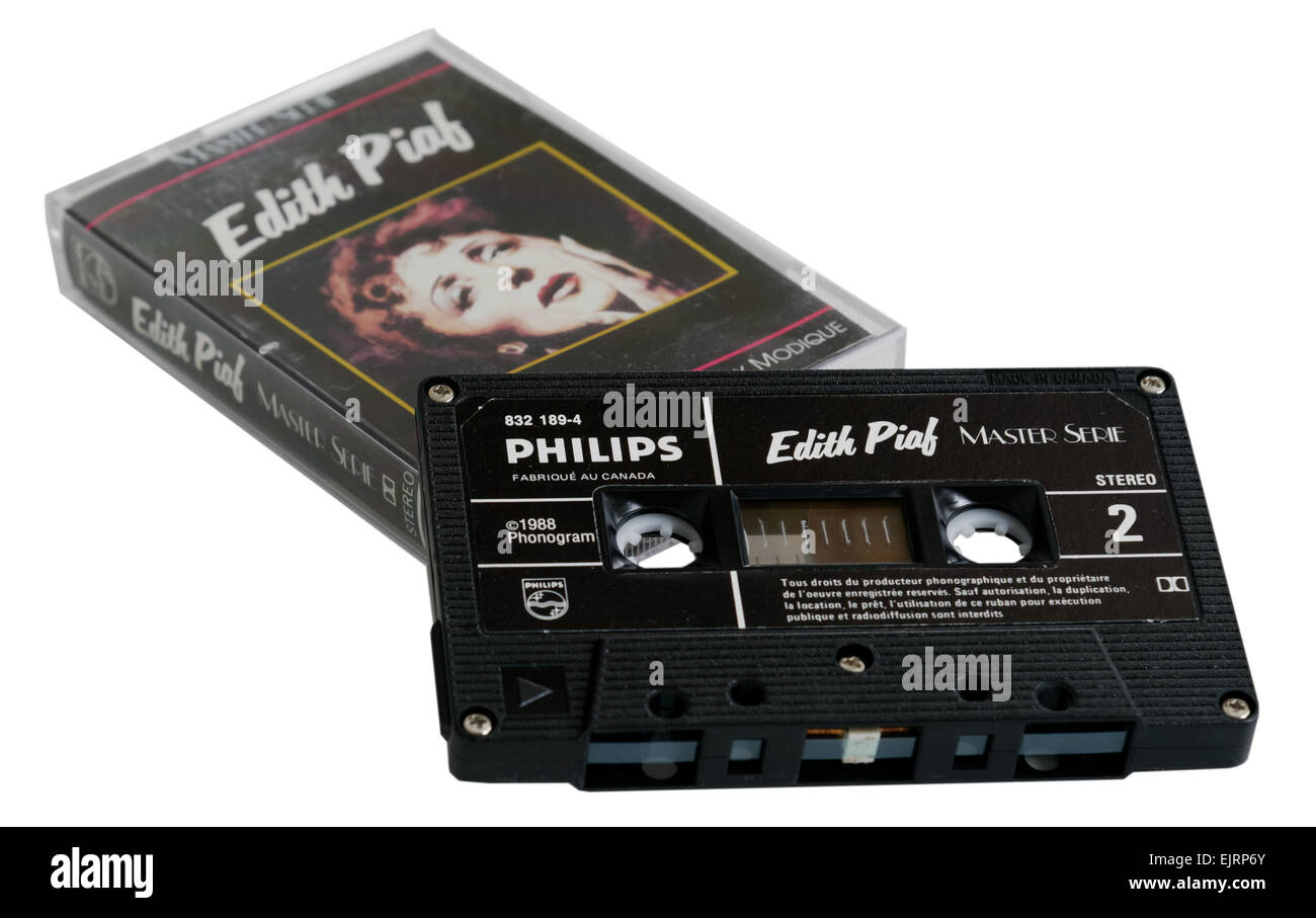 Edith Piaf album on cassette tape - Stock Image