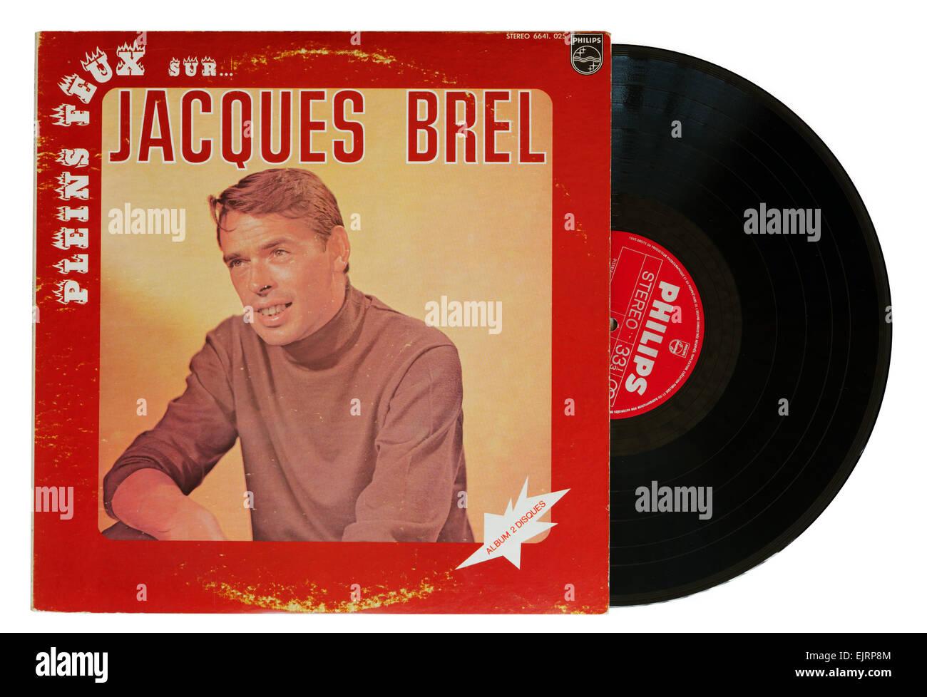 Jacques Brel vinyl album - Stock Image