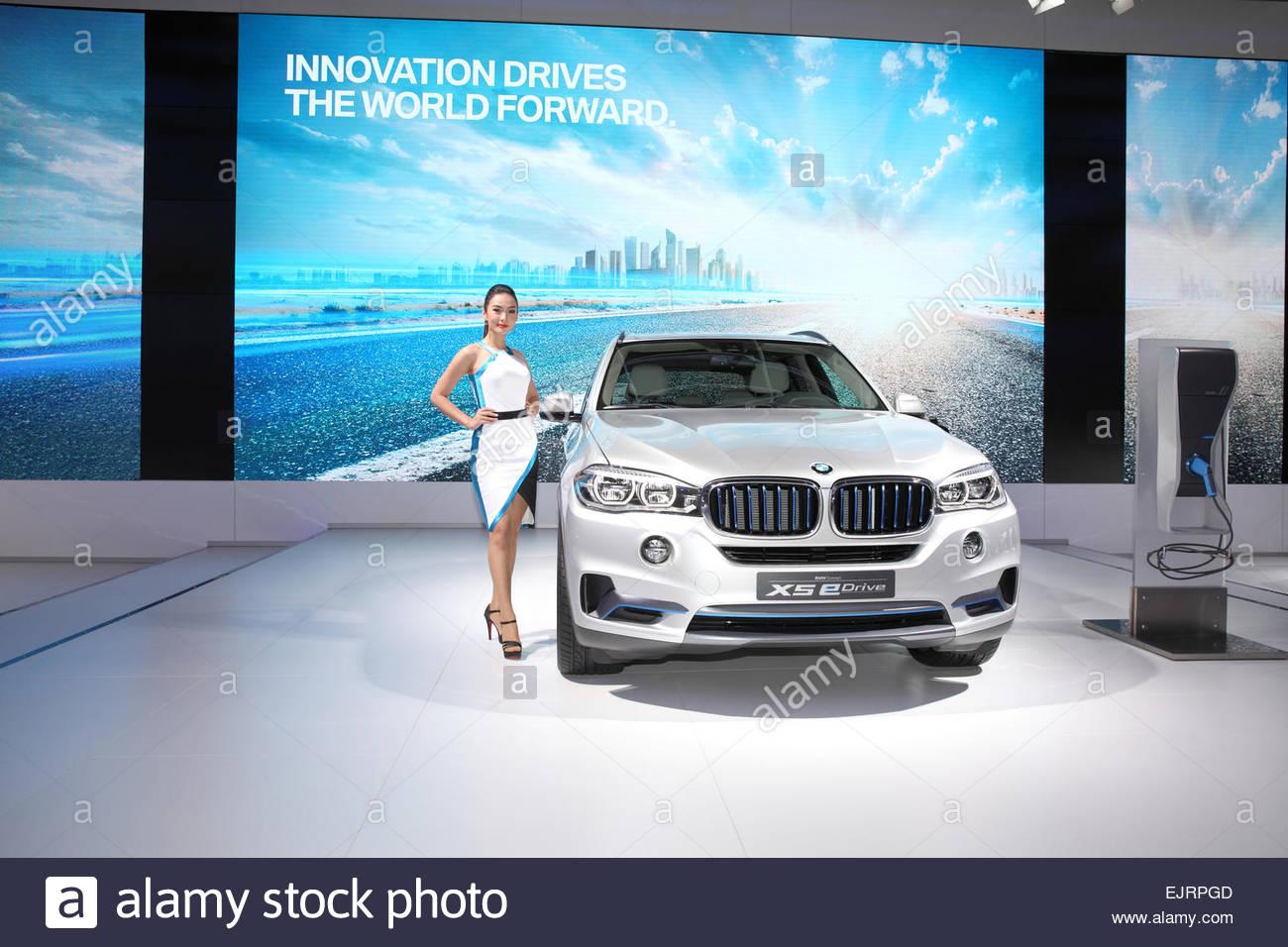 BANGKOK - MARCH 24: BMW X5 edrive car with Unidentified model  on display at The 36 th Bangkok International Motor - Stock Image