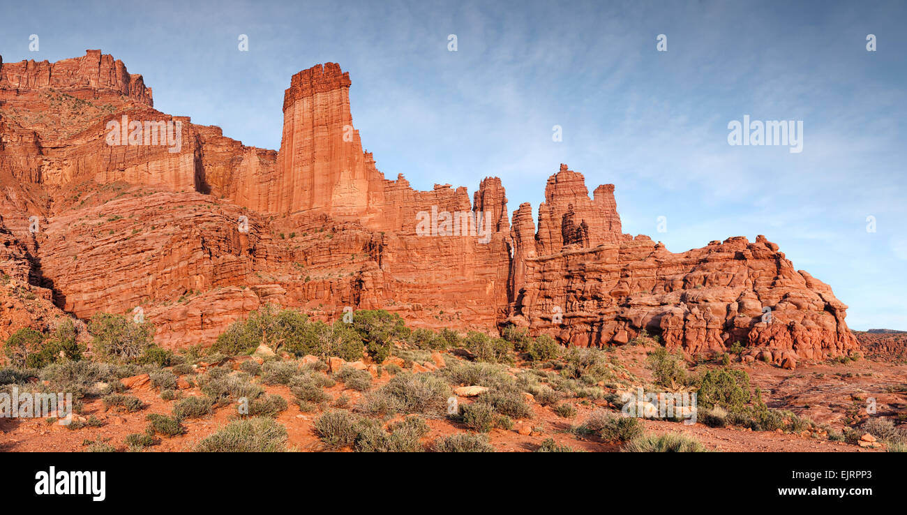 fisher towers rock formation in Southern Utah panorama - Stock Image
