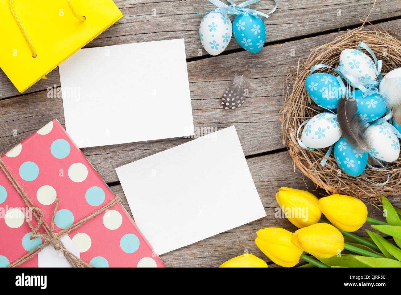 Easter Background With Blank Photo Frames Stock Photos & Easter ...