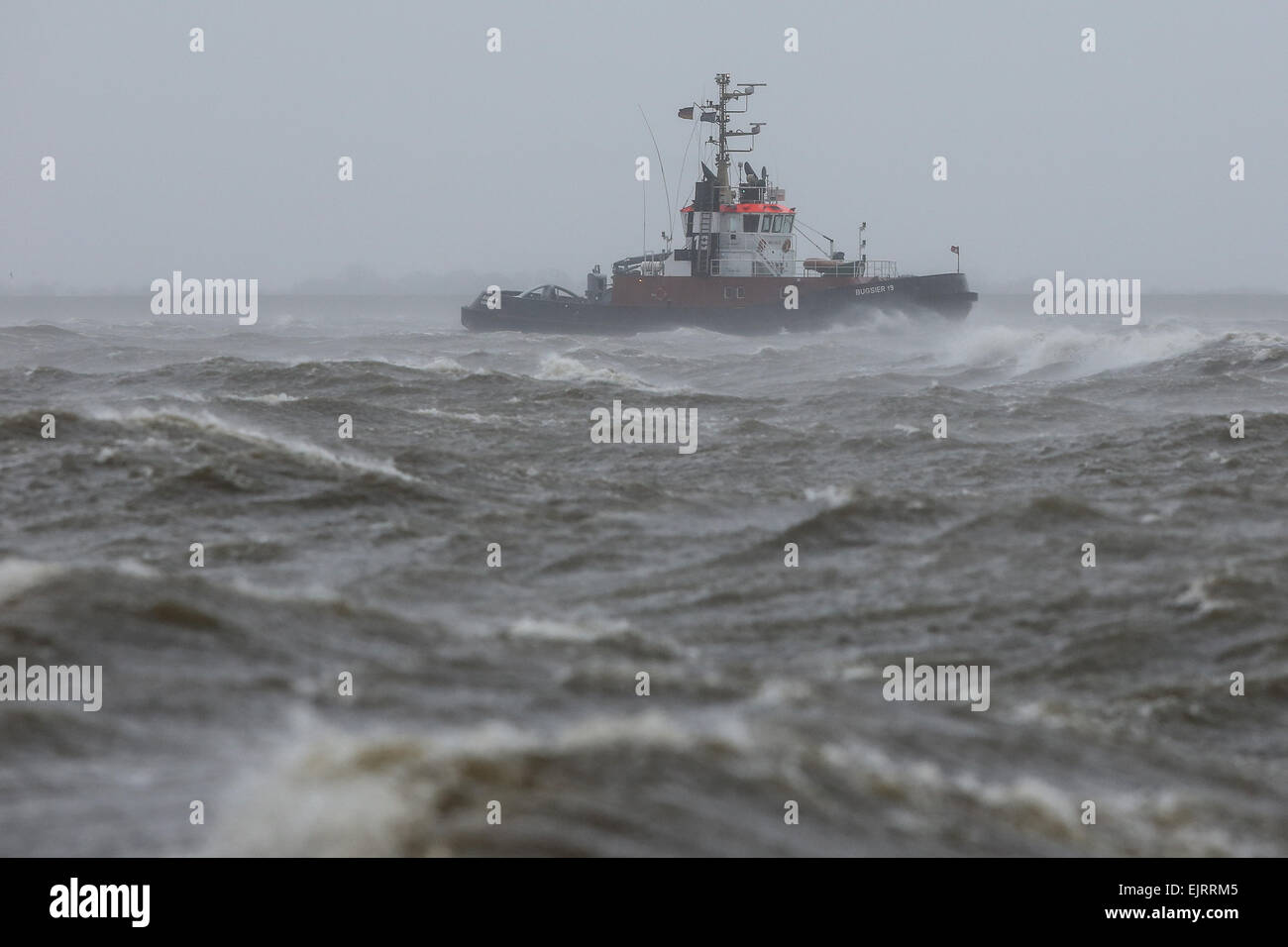 The tug boat 'Bugsier 19' is hit by storm 'Niklas' on the Elbe river in Brunsbuettel, Germany, 31 - Stock Image