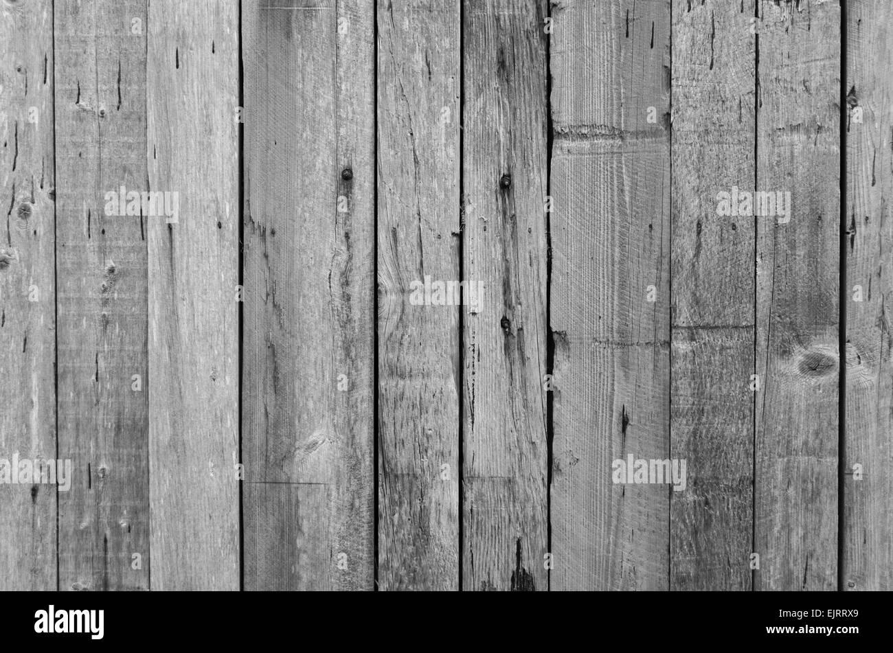 Landscape format greyed, weathering old wooden planks - Stock Image