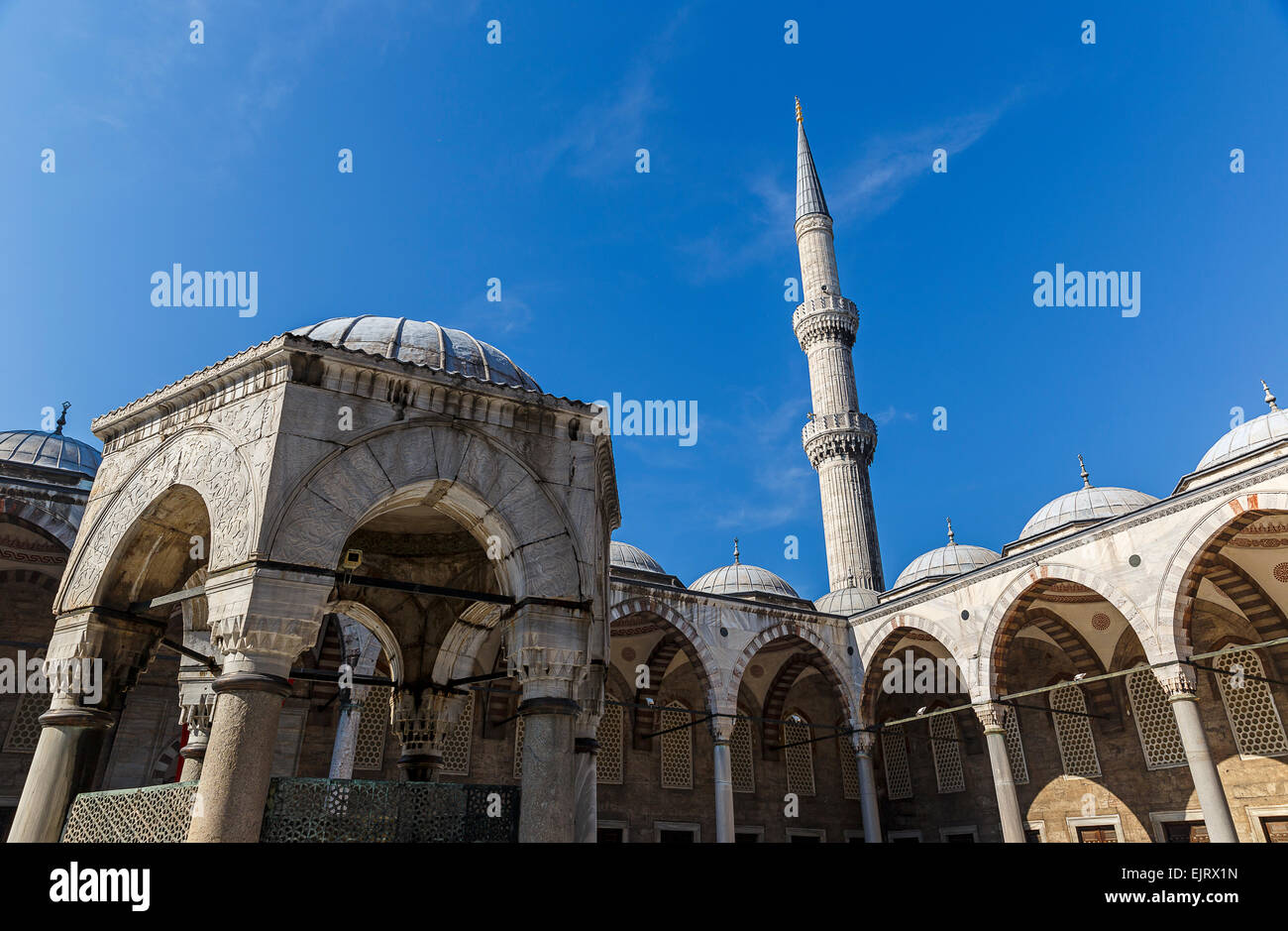 Courtyard of the mosque of Sultan Ahmed in Istanbul Stock Photo