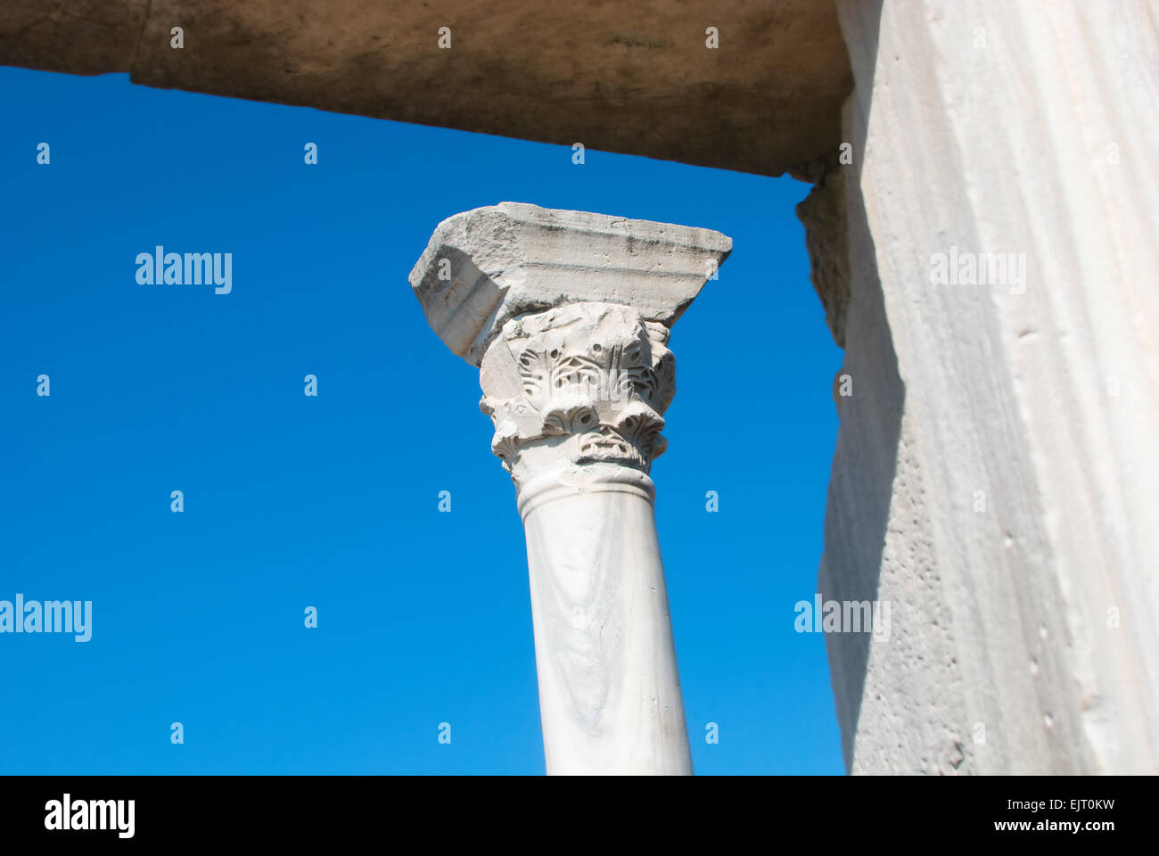 Marble column of old temple. Chersonesus' ancient ruins are presently located in one of Sevastopol's suburbs. Stock Photo