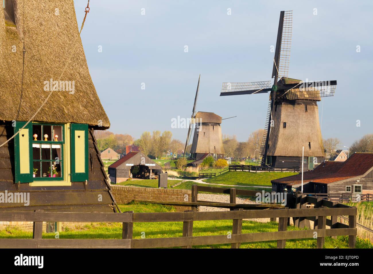 Traditional Windmills beside a Canal, Schermerhorn, North Holland, Netherlands Stock Photo