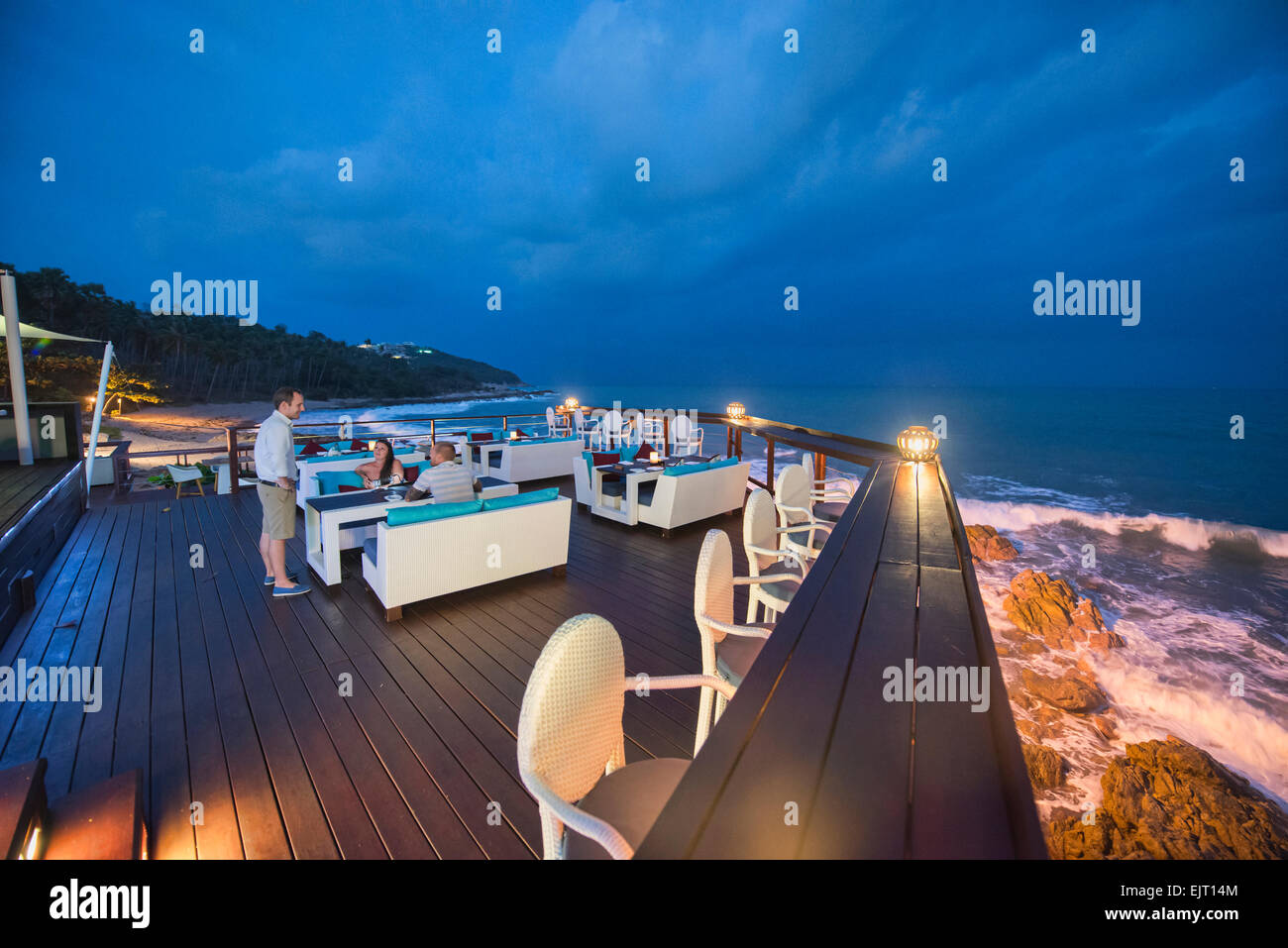 Romantic restaurant over the sea, Koh Samui, Thailand - Stock Image