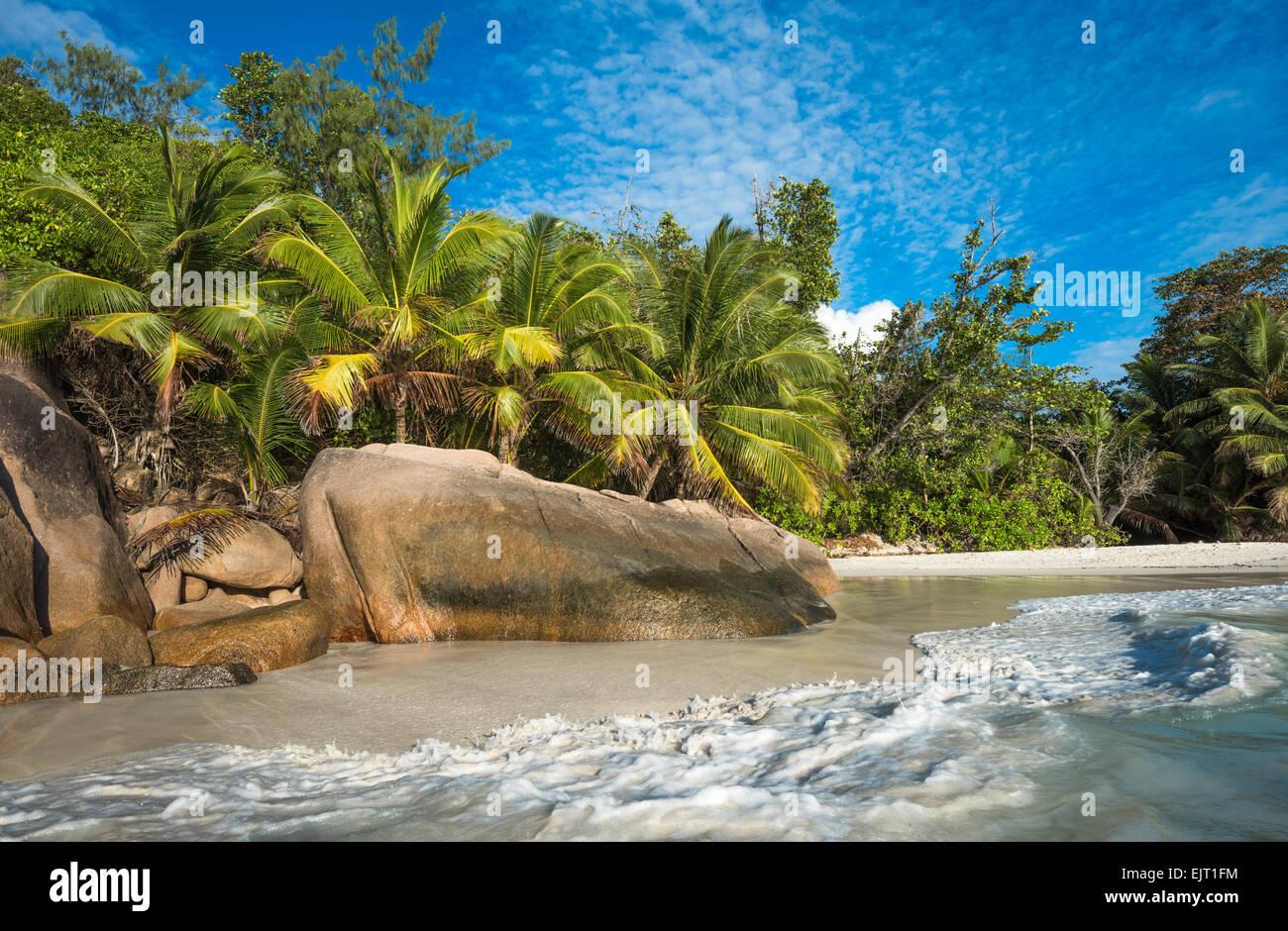 Tropical island beach Anse Lazio, Praslin, Seychelles - Stock Image