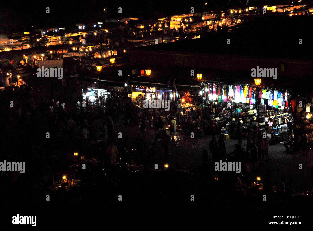 djemaa el-fna at night Stock Photo
