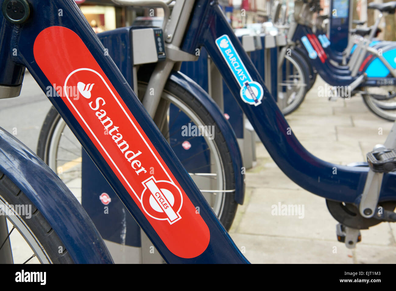 LONDON, UK - MARCH 28: Detail of Boris bikes in line. March 28, 2015 in London. On 27 February 2015. Mayor Boris - Stock Image