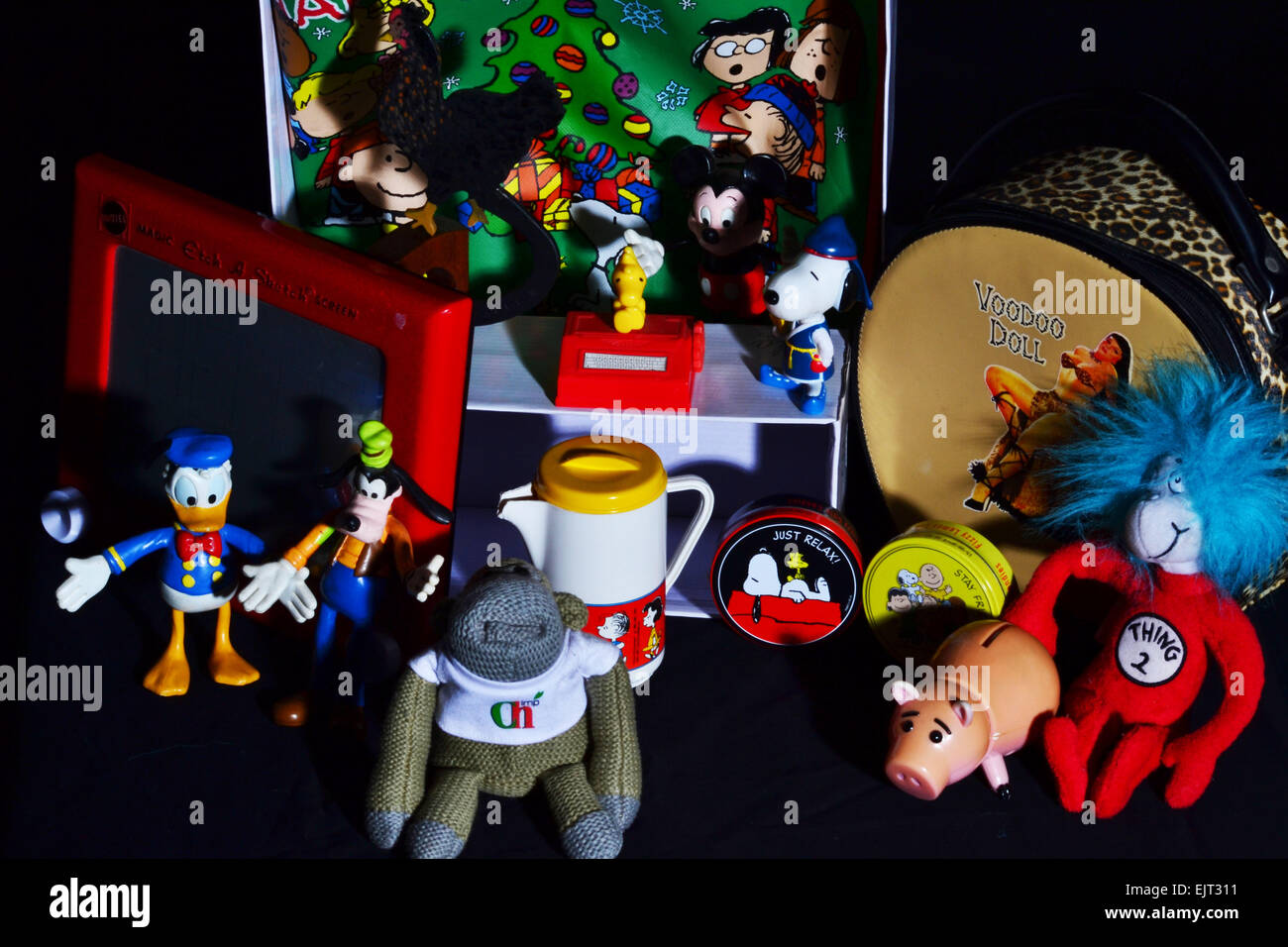collections, looking down, black background, vintage - Stock Image