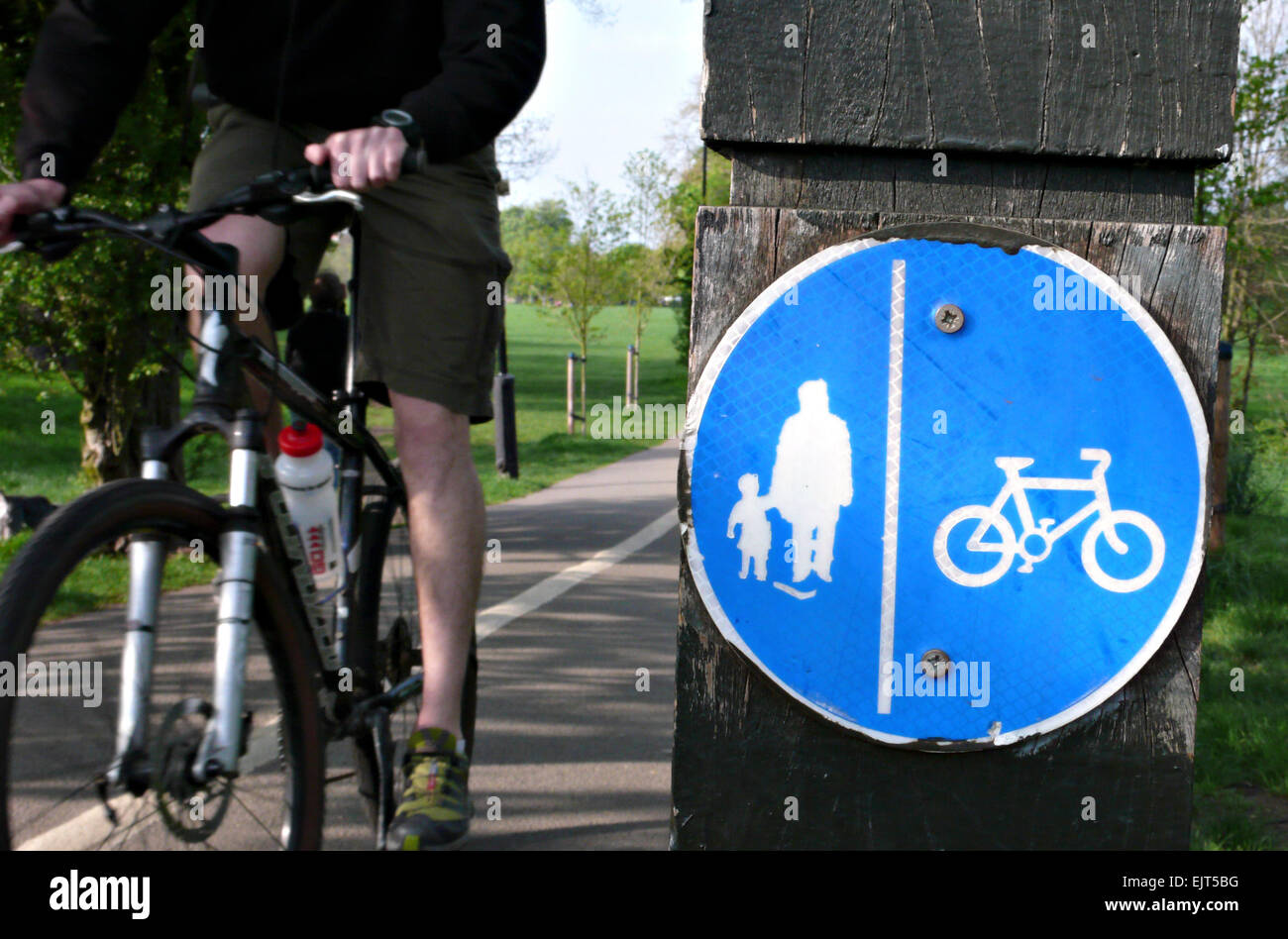 A cyclist rides on the correct side of the path on a London Common - Stock Image