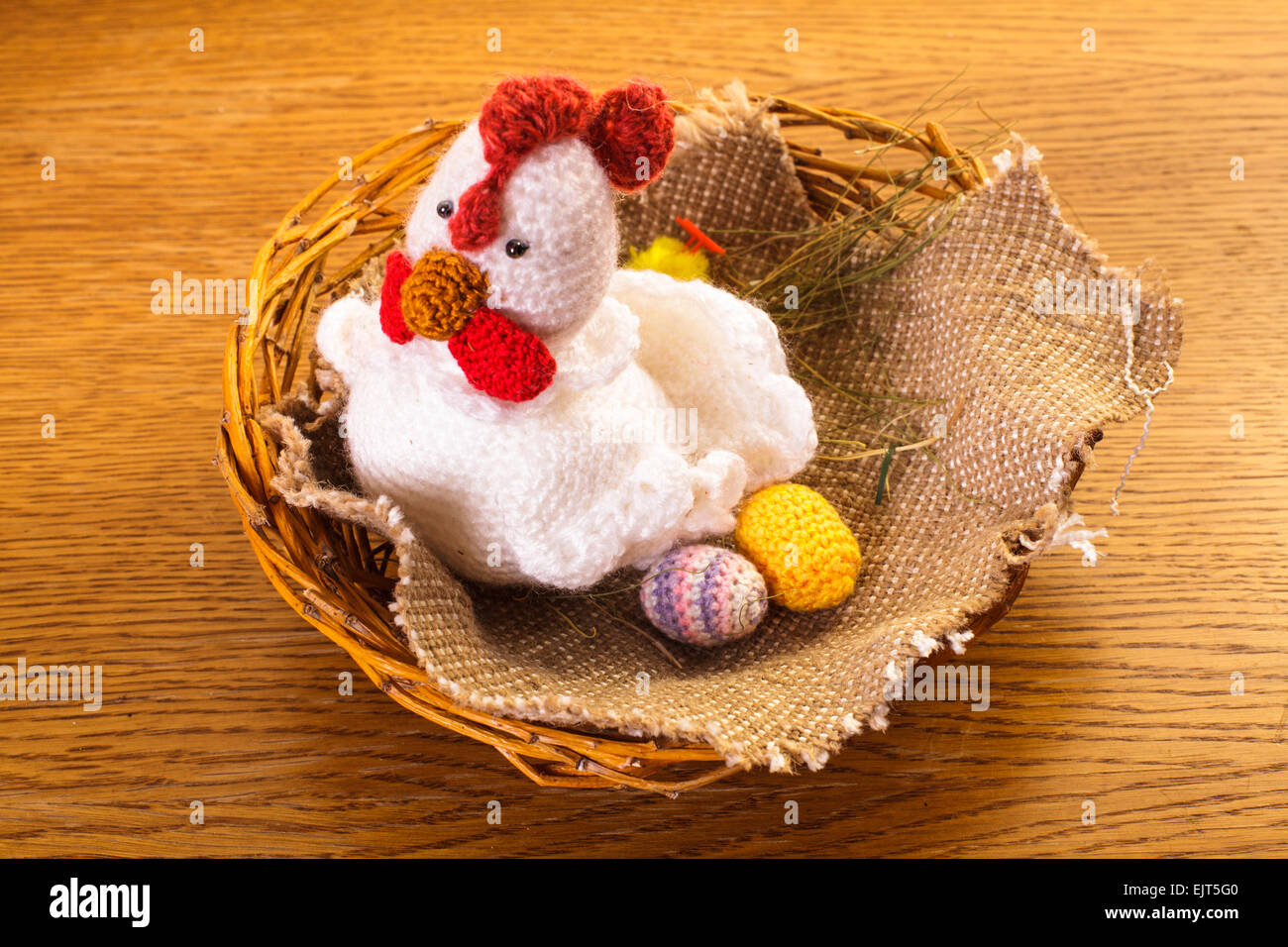 Crochet Chicken With Eggs In The Nest Easter Decorations Stock