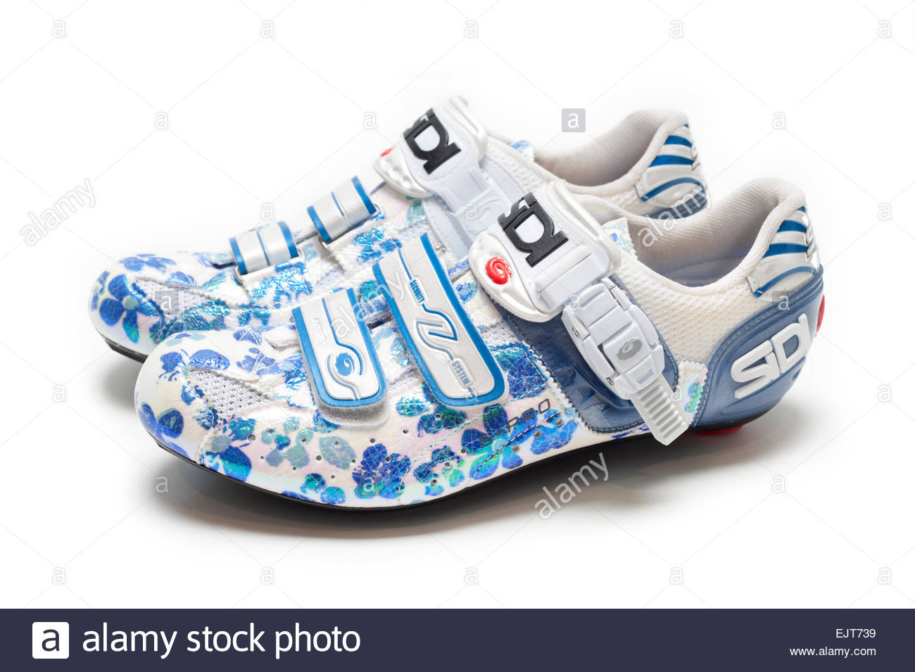 Women's Road Bike Shoes on White Background Flower Patterns, Sidi Genius Pro 5 Professional  Cycling Road Bike - Stock Image