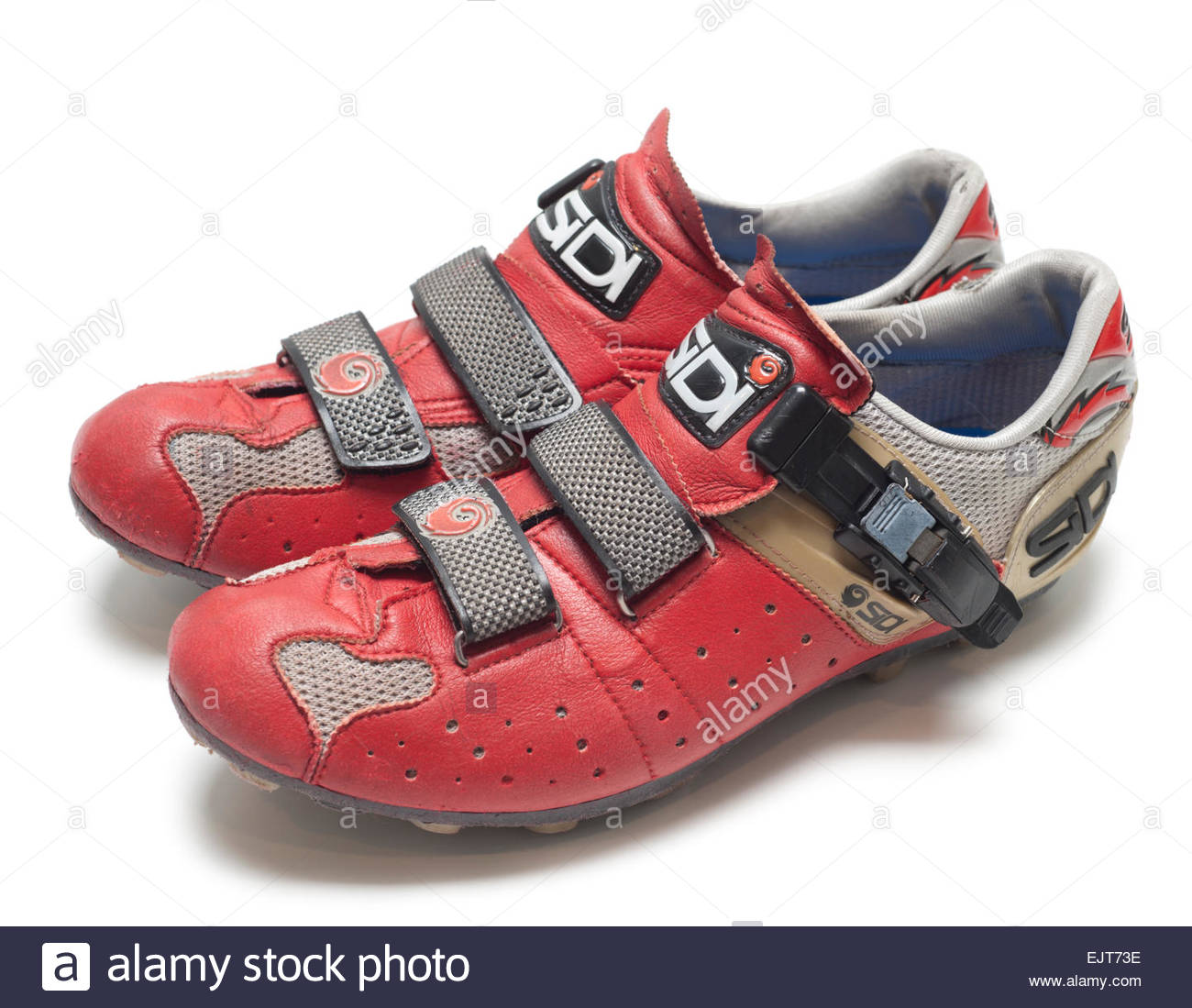 Sidi Dominator Mountain Biking Shoes Red Leather Used Worn Old have been on many trails. Professional Cycling made - Stock Image